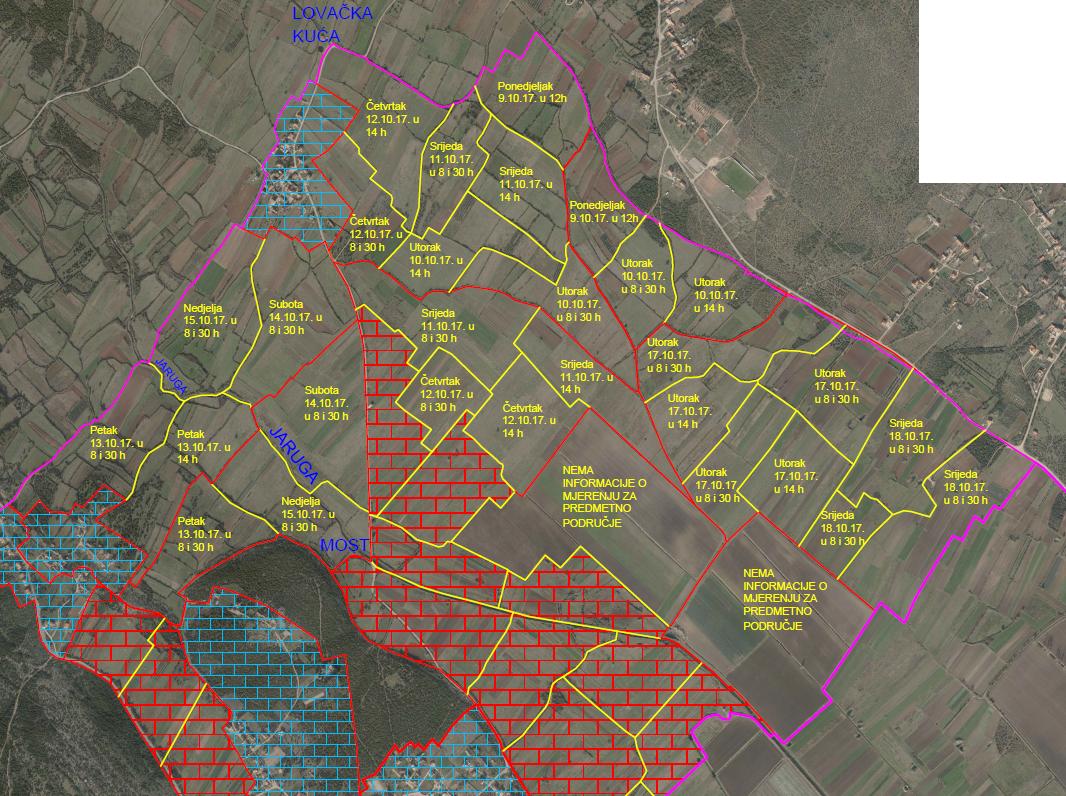 K.o. Turanj - zone za mjerenje polja (obavijest)