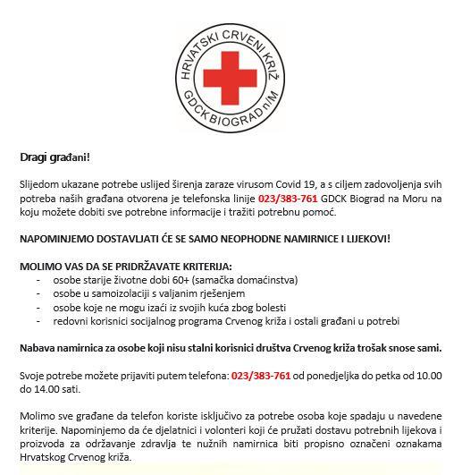 Hrvatski Crveni Križ - Informativni letak za građane o distribuciji neophodnih namirnica i lijekova