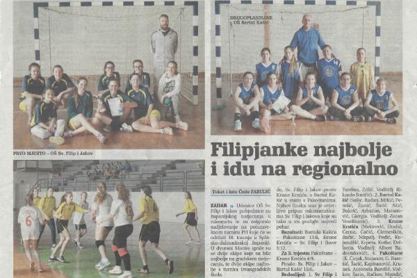 Ženska rukometna ekipa OŠ Sveti Filip i Jakov na Regionalnom prvenstvu (Dalmacije)