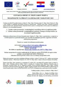 CENTAR ZA OBUKU SV. FILIP I JAKOV POZIVA  NEZAPOSLENE NA PRIJAVU ZA EDUKACIJE U KOLOVOZU 2015.