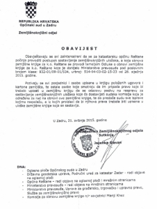 OBAVIJEST - K.O. RAŠTANE