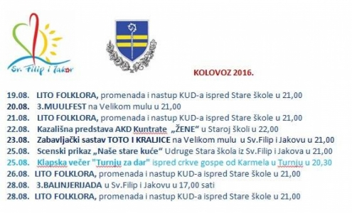 Program do kraja kolovoza 2016