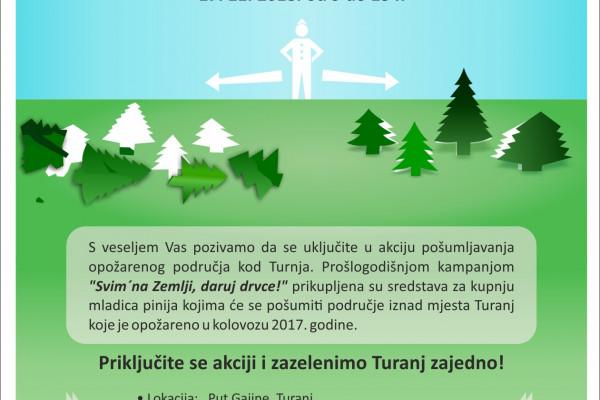 Akcija pošumljavanja opožarenog područja kod Turnja 17. 11. 2018. od 9 do 13 h