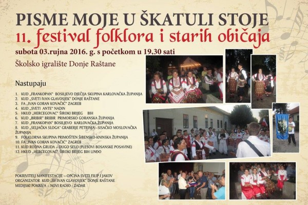 "11. festival folklora i starih običaja ""PISME MOJE U ŠKATULI STOJE"""