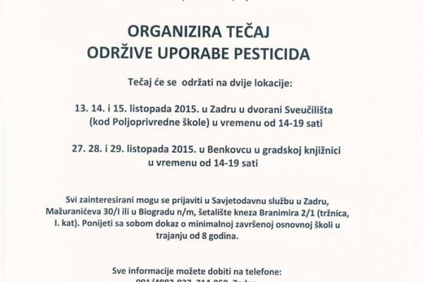 Savjetodavna služba organizira Tečaj održive uporabe pesticida