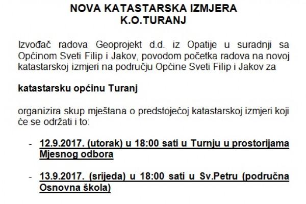 NOVA KATASTARSKA IZMJERA K.O.TURANJ - poziv mještanima